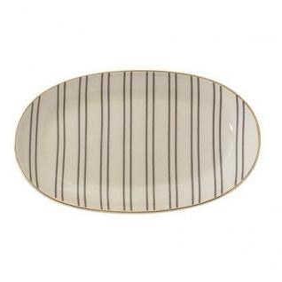 Bloomingville Teller Ava oval creme Streifen grau Goldrand Teller Keramik 21.5 c