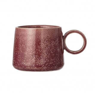 Bloomingville Tasse Joelle rot Keramik Becher mit Henkel 325 ml creme beige