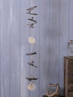 Girlande TREIBHOLZ grau Muschelkette Strandgut Deko Sommer Strand Kette 135 cm