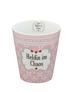 Krasilnikoff Becher Happy Mug HELDIN IM CHAOS rosa Blumen Tasse Porzellan Kaffee