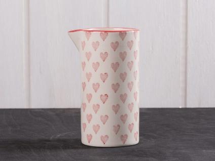 IB Laursen Kanne Herz creme weiß rote Herzen Keramik Krug Herz rot