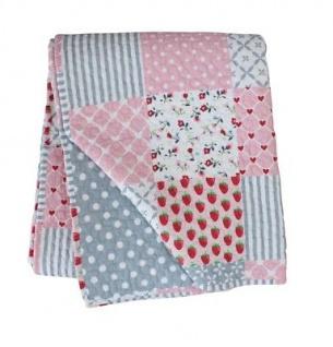 Krasilnikoff Quilt Patchwork Rosa Baumwolle Tagesdecke Pink Plaid