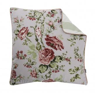 AU Maison Kissen Sophia Blumen / Streifen Mint 50x50 Zierkissen mit Füllung