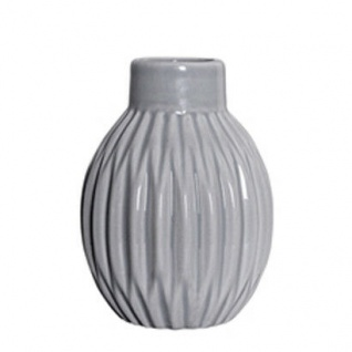 Bloomingville Vase Cool Grey Blumenvase grau Keramik Rillen Struktur 11 cm
