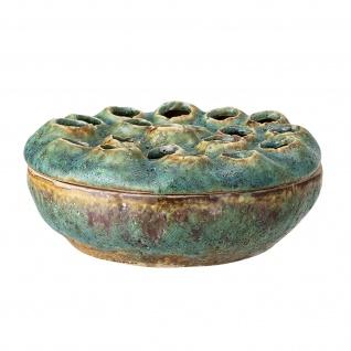 Bloomingville Vase mit Deckel Grün Blumenvase Design Rund Keramik D 18 cm H 8 cm