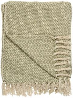 IB Laursen Plaid Creme / Staubig Grün Karo Muster 130x160 Wolldecke mit Fransen