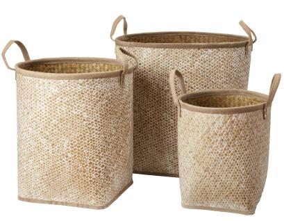 Affari Korb Set COLLECT Seegras weiß 3er Set 35 - 51 cm Wäschekorb Aufbewahrung