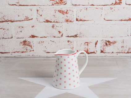 Krasilnikoff Milchkännchen STAR Pink Porzellan STERNE weiß Porzellan