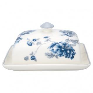 Greengate Butterdose CHARLOTTE Weiß Blau Porzellan Geschirr mit Blumen 12x16 cm