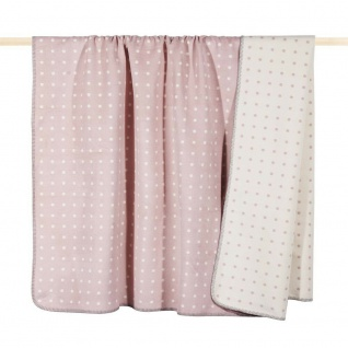 Pad Decke Punkte rosa weiß Wolldecke 150x200 Wohndecke Kuscheldecke