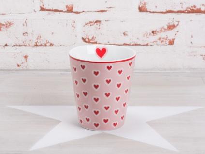 Krasilnikoff Happy Mug Becher HERZEN Rosa pink Herz rot weiß Porzellan