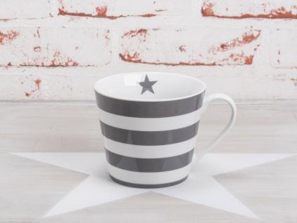 Krasilnikoff Tasse Happy Cup STREIFEN Dunkelgrau weiß Porzellan Becher grau