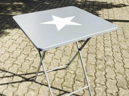 Tisch Jimmy mit Stern. Metalltisch klappbar. stabiler Balkon & Gartentisch grau