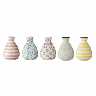 Bloomingville Vase PATRIZIA Keramik Blumenvase 5er Set Vasen Klein Buntes Design