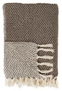 IB Laursen PLAID dunkelbraun creme Decke Baumwolle 130x160 Wolldecke Kuscheldeck