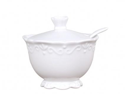 Chic Antique Zuckerdose PROVENCE Porzellan Geschirr Weiß 180 ml Zuckertopf