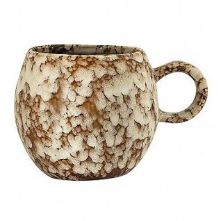 Bloomingville Tasse Paula braun creme Becher mit Henkel 300 ml Keramik