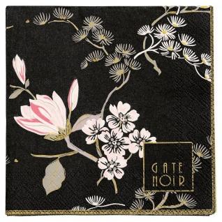 Gate Noir GreenGate Servietten AMELIE Schwarz weiß Blumen 12.5 cm Papierserviett