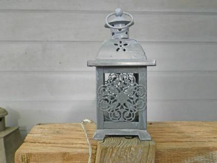 Laterne KLEEBLATT Grau Mini Metall Windlicht 14.5 cm Teelichthalter Kerzenhalter