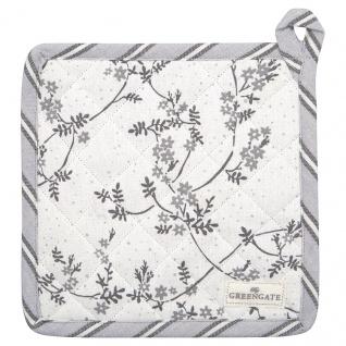 Greengate Topflappen AMIRA Weiß Grau 2er Set mit Blumen Baumwolle 20x20 cm