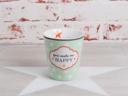 Krasilnikoff Happy Mug Becher YOU MAKE ME HAPPY Grün Sterne weiß Stern orange