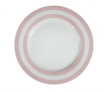 Krasilnikoff Essteller STREIFEN Rosa Weiß Porzellan Geschirr Teller 25 cm