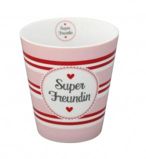 Krasilnikoff Becher Happy Mug SUPER FREUNDIN Streifen Tasse Porzellan Geschirr