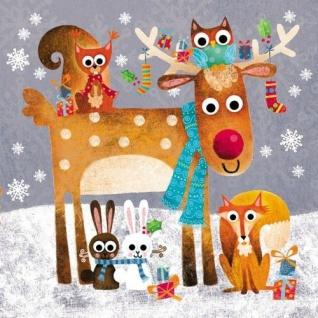 Ambiente Servietten FUNNY ANIMALS fröhliche Tiere im Schnee Weihnachten 20 S 33x
