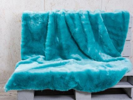 Pad Decke SHERIDAN Felldecke Aqua Türkis Kuscheldecke Wohndecke 140x190 Fell