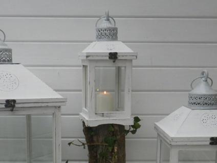 Laterne ROMANTICA 37 cm Gartenlaterne Holz weiß Windlicht Shabby Chic Landhaus - Vorschau 2