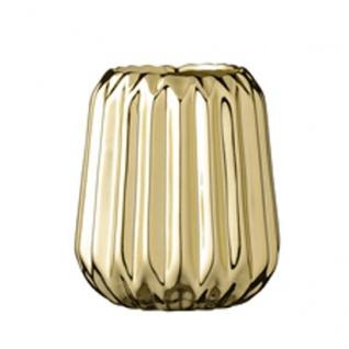 Bloomingville Votive Gold Teelicht Kerzen Halter aus Porzellan 9 cm