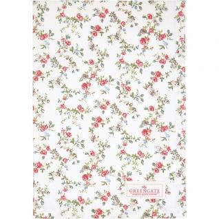 Greengate Geschirrtuch CARLY Weiß Blumen Baumwolle 50x70 Küchentuch