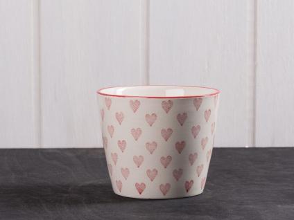 IB Laursen Becher Herz creme weiß groß Rote Herzen weiße Keramik Tasse ohne Henk