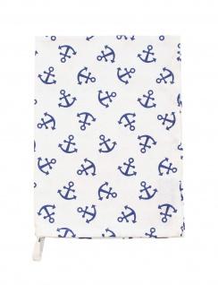 Krasilnikoff Geschirrtuch ANKER Weiß mit blauen Ankern Baumwolle Maritim 50x70