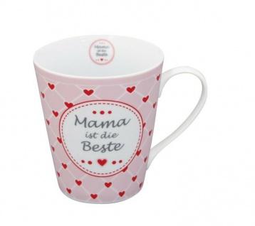 Krasilnikoff Happy Mug Henkel Becher MAMA IST DIE BESTE Rosa Herzen rot