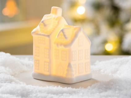LED Haus ELIAS weiß mit Licht 10 cm Weihnachten Deko Objekt beleuchtet - Vorschau