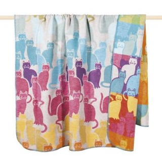 Pad Decke Katzen bunt multi color Wolldecke 150x200 Wohndecke Kuscheldecke