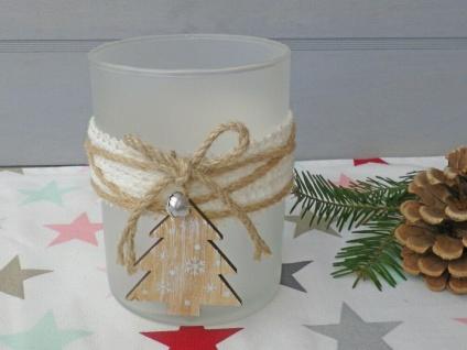 Windlicht OLINE Weiß Matt 13 cm Glas Holz TANNENBAUM Weihnachtsdeko Weihnachten