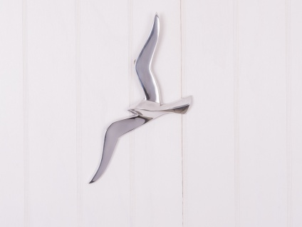 Wandojekt MÖWE 36cm Silber Metall Maritime Deko Objekt Vogel Sommerdeko Wanddeko