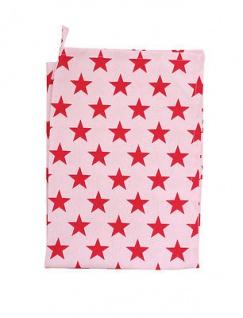 Krasilnikoff Geschirrtuch Sterne rosa rot. Geschirrhandtuch pink rote Stern - Vorschau