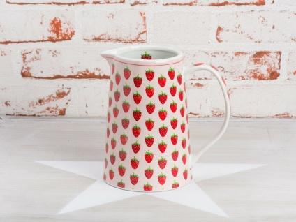 Krasilnikoff Krug ERDBEERE Kanne rosa rote Erdbeeren Porzellan Karaffe 850 ml