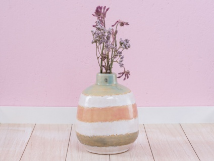 A Simple Mess Vase CIRKUS Multi Color 17 cm grün orange blau Keramik Blumenvase