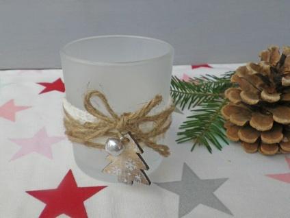 Windlicht OLINE Weiß Matt 8 cm Glas Holz TANNENBAUM Weihnachtsdeko Weihnachten