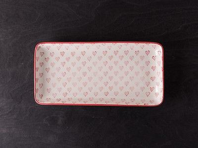 IB Laursen Tablett Herz creme weiß Rote Herzen weißes Keramik Teller Tablett
