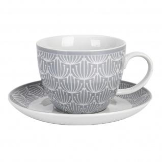 Krasilnikoff Tasse und Untertasse BLOSSOM Hellgrau 420ml Porzellan Geschirr Grau