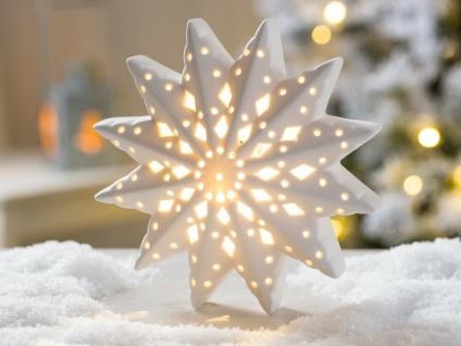LED Aufsteller STERN LINA Porzellan weiß Licht 16 cm Weihnachten Deko Objekt