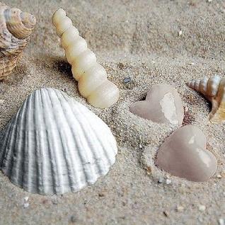 Ambiente Servietten HEARTS IN SAND Strand Steine Herz Muscheln Sand 20 Stk 33x33