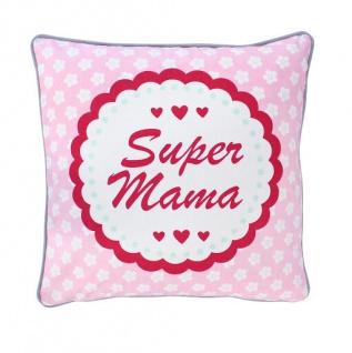 Krasilnikoff Kissenhülle SUPER MAMA Rosa Blumen weiß Kissenbezug 50x50