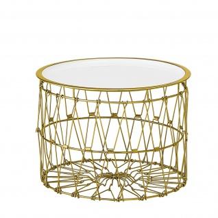 Bloomingville Beistelltisch KORB Gold Weiß Tisch Rund D 42 H 31 cm Metall