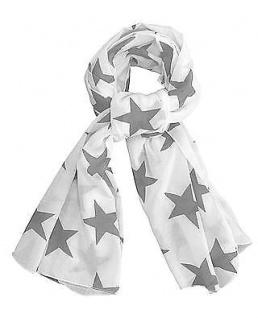 Krasilnikoff Halstuch Sterne weiß dunkelgrau, Schal, Tuch grau Baumwolle